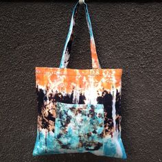 a9ab642a27 Orange Aqua Blue Black Tie Dye Tote Bag. 100% Cotton Canvas. Hand Dyed  Beach Bag. School Bag. Shopping Bag