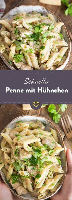 Leckere Pasta, in cremiger Sauce mit zartem Hühnchen. Die ist in nur 25 Minuten auf dem Tisch - oder mit dir auf der Couch.