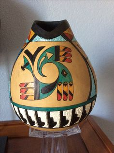 More Hand Painted Gourds, Painted Pots, Acevedo, Pueblo Pottery, Native American Pottery, Gourd Art, Wooden Art, Native Art, Woodturning