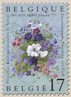 belgian stamps 2nd Floraly at Luik.Flowers