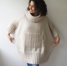 Items similar to Ecru Plus Size Dress Sweater with Accordion Hood and Pocket - Over Size Tunic by Afra on Etsy Poncho Dress, Poncho Sweater, Hand Crochet, Hand Knitting, Plus Size Patterns, Mohair Yarn, Knitted Gloves, Knitwear, Autumn Fashion