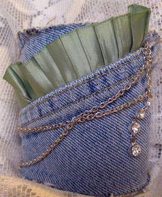 Upcycled Denim Bracelet Cuff: Vintage Jewelry, Chain & Ribbon. $40.00, via Etsy.