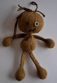 Hand knitted  brown Voodoo doll