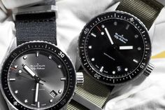 Blancpain's fifty fathoms bathyscaphe!!  Rugged by design yet elegant as only Blancpain can do!