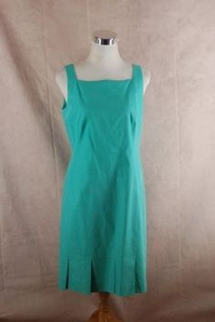 Akris Punto Pleated Hem Sheath Dress 8 Aqua Sleeveless - Upcycled Couture