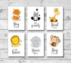 Set of 6 Jungle Animal Nursery Prints, Safari Nursery Wall Art, Jungle Safari Nursery Decor, Lion Tiger Zebra Monkey Giraffe Animal Prints Set of 6 Ju Safari Jungle, Jungle Theme Nursery, Baby Boy Nursery Themes, Animal Nursery, Jungle Animals, Monkey Nursery, Elephant Nursery, Baby Elephant, Nursery Prints