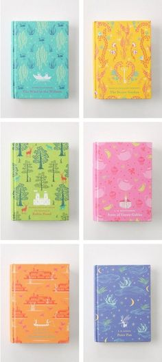 Penguin Children's Clothbound classic, Peter Pan, The Wind in the Willows, Robin Hood, Huckleberry Finn, Secret Garden, Anne of Green Gables.