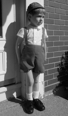 a2568820016 1940s-50s Boys Shorts and Suspender Set with Shirt and Hat in 2T