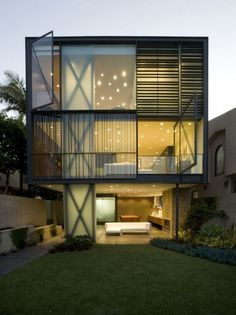 Situated on the Venice Canals of Los Angeles, California, Hover House 3, Glen Irani Architects. The series focuses on maximizing outdoor living on small lots by 'hovering' the building envelope above the grade level in order to create space for outdoor living environments. This series proposes that interior living space be reduced in favor of less resource-intensive outdoor living amenities.