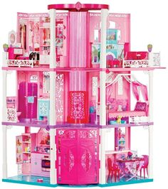 It's every Barbie doll's dream come true! This Barbie Dreamhouse features three exciting levels of play, lights and sounds throughout Dreamhouse Barbie, Barbie Doll Car, Barbie Toys, Barbie Playsets, Play Barbie, Atrium Windows, Malibu Sunset, Barbie Dream House, Dream Doll