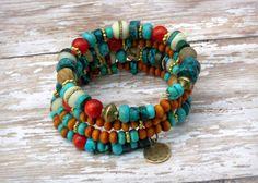 Ethnic and Bohemian Inspired Wrap Bracelet Stone Jewelry, Boho Jewelry, Jewelry Crafts, Antique Jewelry, Beaded Jewelry, Jewelry Bracelets, Jewelery, Fashion Jewelry, Jewelry Design