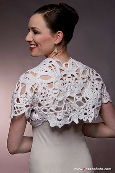 Bohemian White Wedding Bolero, Lace and Freeform Crochet Bridal Shrug Easy Crochet Shrug, Crochet Shirt, Freeform Crochet, Crochet Cardigan, Irish Crochet, Crochet Shrugs, Crochet Crafts, Crochet Yarn, Crochet Top