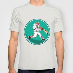 American Baseball Player Batting Cartoon T-shirt