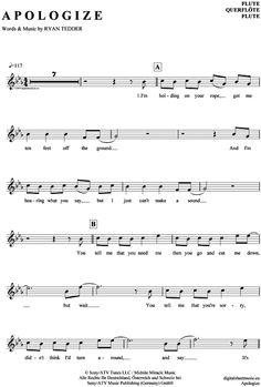Apologize (Querflöte) Timbaland feat. OneRepublic [PDF Noten] >>> KLICK auf die Noten um Reinzuhören <<< Noten und Playback zum Download für verschiedene Instrumente bei notendownload Blockflöte, Querflöte, Gesang, Keyboard, Klavier, Klarinette, Saxophon, Trompete, Posaune, Violine, Violoncello, E-Bass, und andere ...