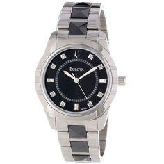 Женские часы - Bulova Diamond 98P136 - Оригинал    ---    Смелый и элегантный дизайн часов Bulova. Браслет из нержавеющей стали с черными циркониевыми центральными звеньями. Круглый корпус, 36 мм.    Черный циферблат с алмазными часовыми маркерами (Сертификат на бриллианты), серебристыми маркерами и логотипом. Оригинальный кварцевый механизм.    Состояние: Новые в коробке с документами.    Материал корпуса: Нержавеющая сталь    Цвет циферблата: Черный    MPN:98P136    UPC:042429501379…