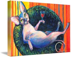"""""""Sphynx Cat with wine glass print painting"""" by Svetlana Novikova, Austin // This whimsical sphynx cat with a wine glass print is a great gift for any sphynx lover.  Please see my other sphynx artworks at www.SvetlanaNovikova.com // Imagekind.com -- Buy stunning fine art prints, framed prints and canvas prints directly from independent working artists and photographers."""