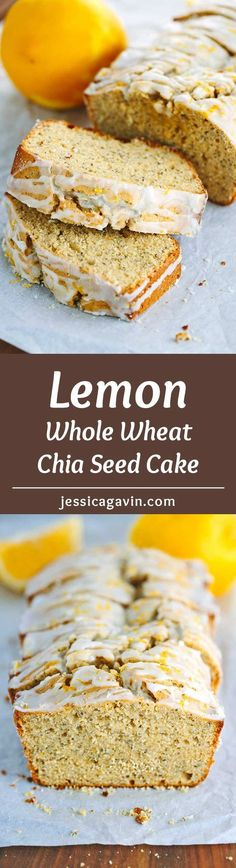 Whole Wheat Lemon Chia Seed Yogurt Cake - This delicious recipe packs nutritious ingredients into each bite! | jessicagavin.com