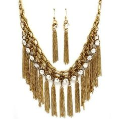 Image detail for -... Crystal Stone Necklace and Earring Set Fashion Gold Necklace Jewelry