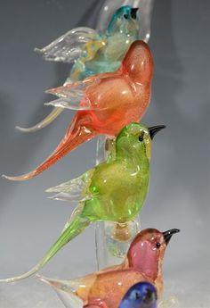murano glass vintage birds  | Mid Century Murano Glass Birds on a Branch Sculpture