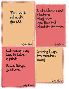 Free! Judy Blume quote sheets.