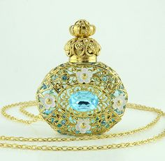 Vintage Blue Perfume Bottle Gold Tone Filigree by chicandcharm, $31.00