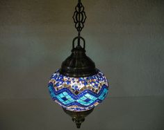 blue mosaic hanging lamp glass candle holder electric lantern light hg 92 #Handmade #Moroccan