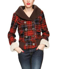 Take a look at this Red Woven Knit Plaid Jacket - Women by Desigual on #zulily today!