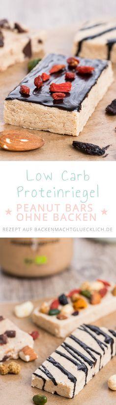 Genial saftige Low Carb Proteinbars ohne Backen. Die Erdnussbutter-Eiweißriegel sind kohlenhydratarm, proteinreich, glutenfrei und je nach verwendeten Zutaten sogar vegan bzw. zuckerfrei. Pro Riegel ca. 18g Protein und 9g KH.