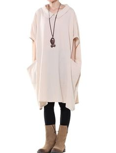 Mordenmiss Women's New Batwing Sleeves Casual Top L Style 1-Beige