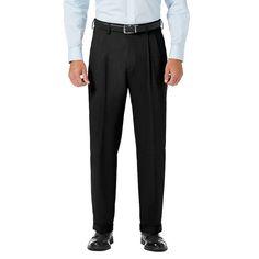 Men's J.M. Haggar Premium Classic-Fit Stretch Sharkskin Pleated Dress Pants, Size: 38X30, Black