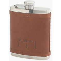 Leather flask (1,890 PHP) ❤ liked on Polyvore featuring home, kitchen & dining, bar tools, 8oz flask, leather flask, leather hip flask and drinking flask