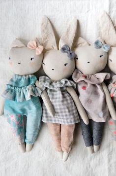 Beautiful Handmade Cat & Bunny Doll s| lespetitesmainsS on Etsy