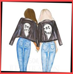 Best friends personalized wall art multi cultural friends fashion illustration print gift for sister twin roommate add name to the print Drei beste freunde Bff Pics, Best Friend Pictures, Bff Pictures, Bff Images, Friends Mode, Girly Drawings, Drawings Of Friends, Cute Best Friend Drawings, Best Friend Sketches