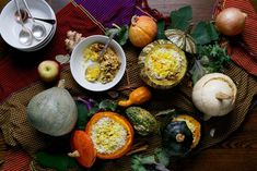 This side or main dish combines pumpkins or other winter squash with the heady flavors of ginger-spiced pistachios, plus yogurt and basmati rice. Dried Cherries, Dried Cranberries, Pumpkin Dishes, Thanksgiving Sides, Vegetarian Thanksgiving, Thanksgiving Recipes, Biryani, The Fresh, Main Dishes