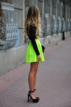 Definitely wearing this for my senior pictures.... love this neon skirt (: :: NEON :: #neon - ☮k☮