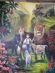 from Poleet Stout's Pinterest pages of Art by her family. Mural by her sister  Louise Moorman. Jehovah's Witness's. Beautiful!