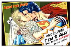 Superhero Wedding - Save The Date  SUPERMAN Comic CHANGEABLE HAIR Color by SparksArts, $55.00