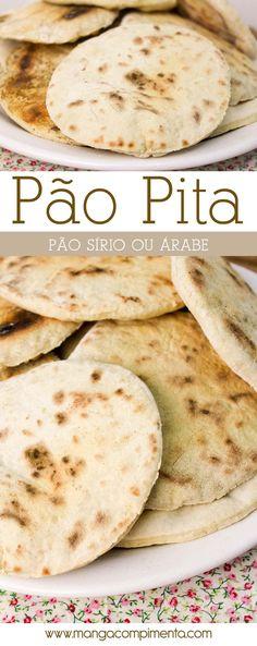 Receita de Pão Pita, também conhecido como Pão Sírio ou Árabe.