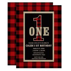 Rustic Red Black Buffalo Plaid 1st Birthday Party Card - birthday gifts party celebration custom gift ideas diy
