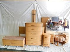 $1,100. Jan.2015. FULL BED VANITY W. MIRROR STOOL TALL CHEST CEDER CHEST NIGHT STAND. TOP ON VANITY NEED FINISH WORK OVER ALL NOT BAD SOLD AS IS  HEYWOOD WAKEFIELD BED ROOM SET : Lot 460