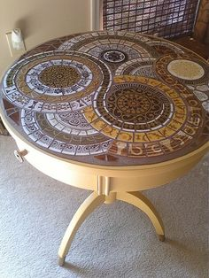 Yellow Mosaic Top Table with Drawer by MedallionHouse, via Flickr