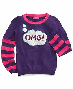 Takeout Kids Sweater, Girls OMG Crew-Neck Top