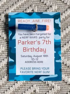 boy birthday parties Simple ideas for a great Nerf Gun Birthday party at home. The Ultimate Nerf Birthday party Guide! These Nerf birthday party ideas are easy and inexpensive! 7th Birthday Party Ideas, 8th Birthday, Birthday Party Invitations, Ideas Party, 5th Birthday Ideas For Boys, Birthday Crafts, Party Fotos, Nerf Party, Luau Party