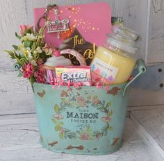 Cupcake Gift Basket - Decorative Paris Maison Tin Bucket – Would look beautiful…