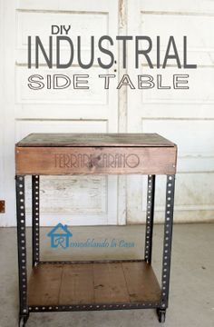 DIY Industrial Side Table - Give the industrial look a try - a wine crate + slotted angles and wheels