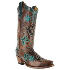 Corral Women's Whiskey Cross Inlay Snip Toe Western Boots