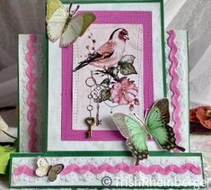 Pink and green cards from Megs Garden P   G collection Step Cards, Paper Background, I Card, Pink And Green, Butterfly, Frame, Garden, How To Make, Collection