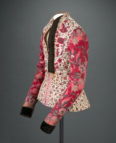 A 1700s jacket of India cotton, pieces from several chintz patterns from the Eecen-van Setten collection, Peabody Essex Museum