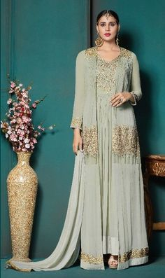 L. Gray Gold embroidery  Plazzo suits Plazzo Suits, Gold Embroidery, Bridesmaid Dresses, Wedding Dresses, Palazzo, Gray, Fashion, Bridesmade Dresses, Bride Dresses