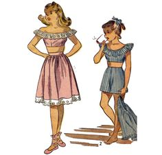 1940s Girls' Playsuit & Dirndl Skirt  Size  7  by PatternAndStitch, $12.00